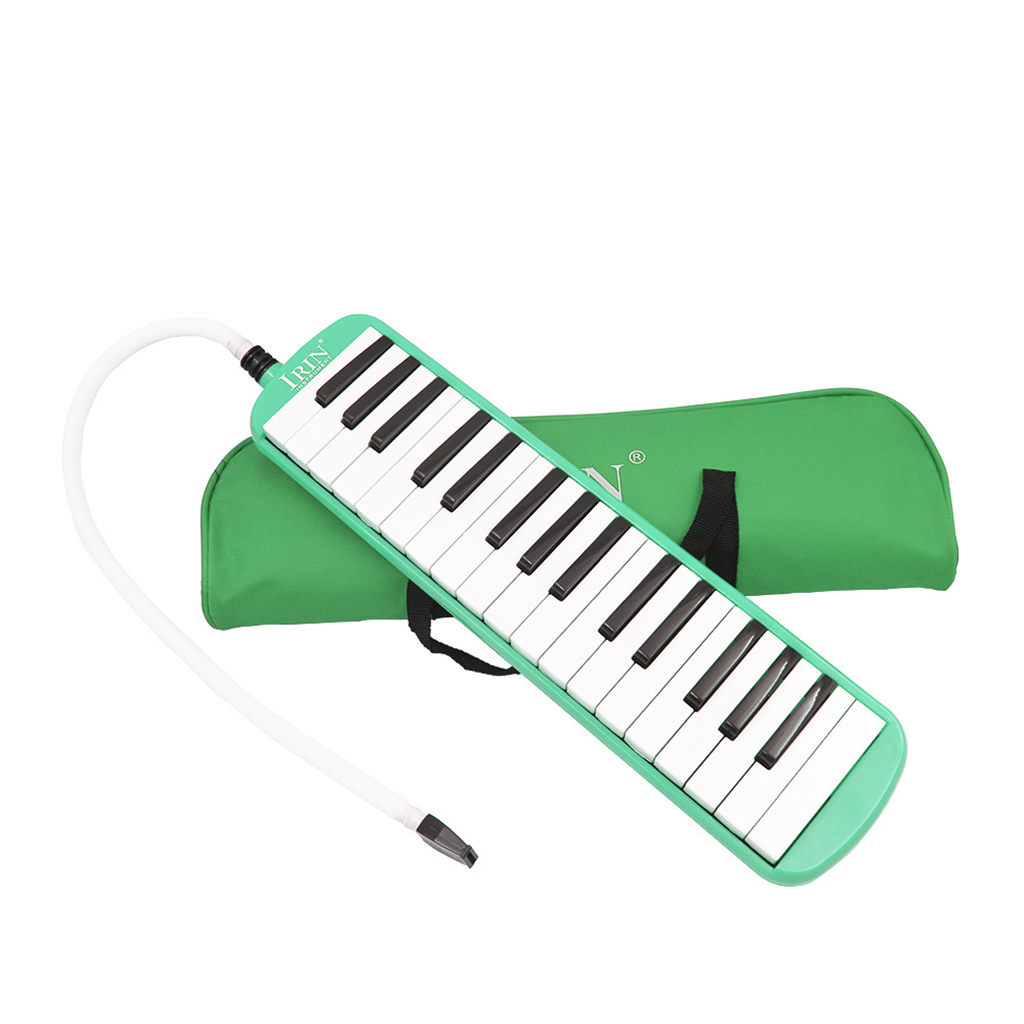 <font><b>32</b></font> <font><b>Key</b></font> <font><b>Melodica</b></font> Piano Keyboard Style Wind Instrument With Carrying Bag Green image