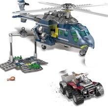433Pcs Jurassic World Park Blues Helicopter Pursuit Building Blocks Kit Movie Model Kids Toys LegoINGLs Bricks Christmas Gifts
