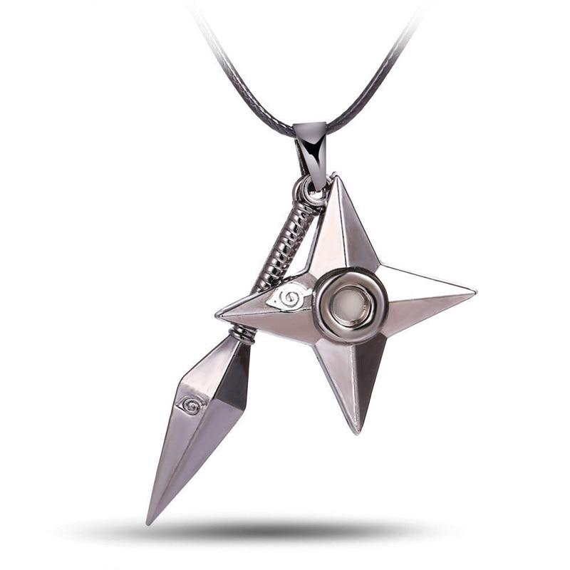 Anime Naruto Cosplay Kunai Konoha Ninja Shuriken Itachi Kakashi Metal Pendant Necklace