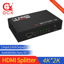 HDMI Splitter HDCP 4K 1x2 1 in 2 out Power Signal Amplifier 1080P 3D 1x4 Audio Spliter HDMI Converter 1x8 HDMI Adapter(China)