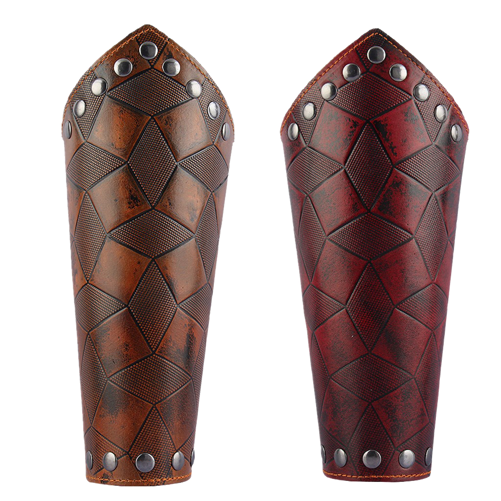 1 Pair Archery Arm Armor Bracer Handmade PU Leather Arrow Bow Shooting Protector Accessories Cuff Cross String Steampunk Cosplay