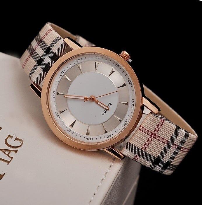 Kobiet Zegarka 2019 New Luxury Brand Women Watch Fashion Classic Quartz Dress Watches Men Casual Plaid Strip Wrist Watches Hot