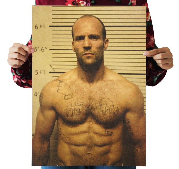 Jason Statham Vintage Kraft Paper Classic Movie Poster Map School Wall Office Decoration  Art  Retro Prints