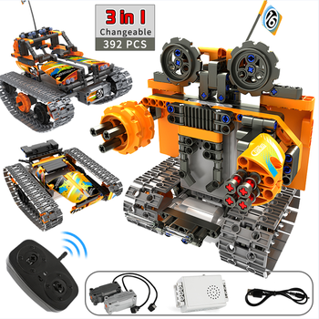 3 in 1 Technic Building Blocks RC Stunt Car City Remote Control Robot Toys Track Car STEM Bricks Constructor Toys For Children city series weapon technic blocks 611pcs diy bricks rc robot building blocks compatible remote control robot block toy for kids
