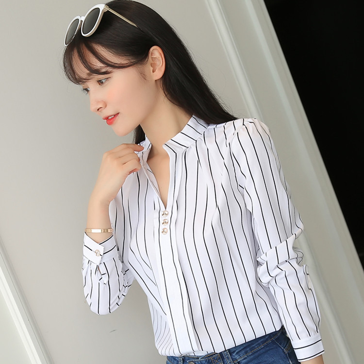 H10463e28cc71411c8c95623566856c63s - Women Fashion White Tops and Blouses Stripe Print Design Casual Long Sleeve Office Lady Work Formal Shirts Female Plus Size