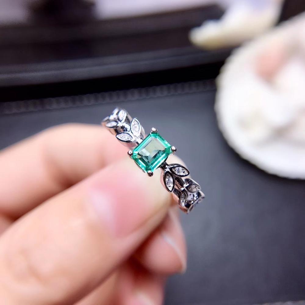 Feuille forme émeraude pierre gemme anneau pour femmes bijoux 100% naturel gemme 925 en argent sterling ornement fête t anniversaire cadeau vert