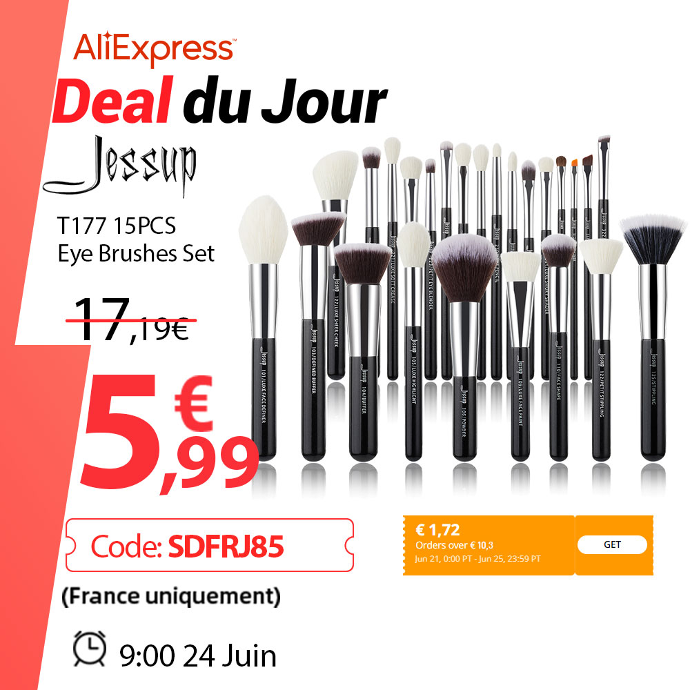 Jessup Makeup brushes set Black/Silver Professional with Natural Hair Foundation Powder Eyeshadow Make up Brush Blush 6pcs-25pcs