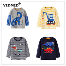 VIDMID baby Boys dinosaur T-shirt Kids Tees Baby Boy striped t-shirts Children's Long Sleeve 100% Cotton cars trucks clothingW02