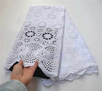 Hot Selling White 100% Cotton African Dry Lace Fabric Nigerian Lace Fabric 2020 High Quality Swiss Voile In Switzerland PSA966-1