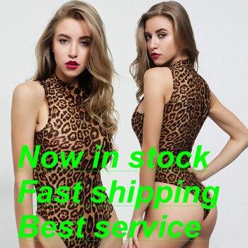 Women's Sexy Leopard One Piece Bodysuit High Neck Sleeveless Leotard Jumpsuit Clothing Top Underwear