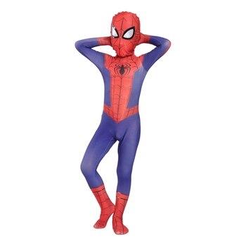 цена Kids Spider Peter Parker Cosplay Costume halloween man costumes for kid spider suit costume онлайн в 2017 году