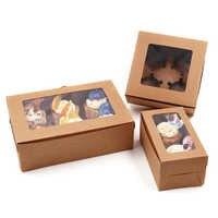 10 Pcs 2/4/6 Fori Kraft Scatola di Imballaggio di Carta Del Bigné Della Focaccina Festa di Nozze Case Holder Box Bjstore