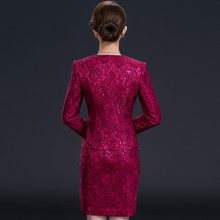 Mother of Bride Dress Suit Long Sleeve Autumn Winter Clothes For Wedding Elegant Formal Office Ladies Work Plus Size 2 Piece Set(China)