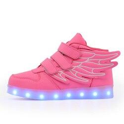 2018 moda różowy led ładowane na usb dzieci buty z zapalić dzieci dorywczo chłopców i dziewcząt świecące trampki świecące buty Hook & Loop