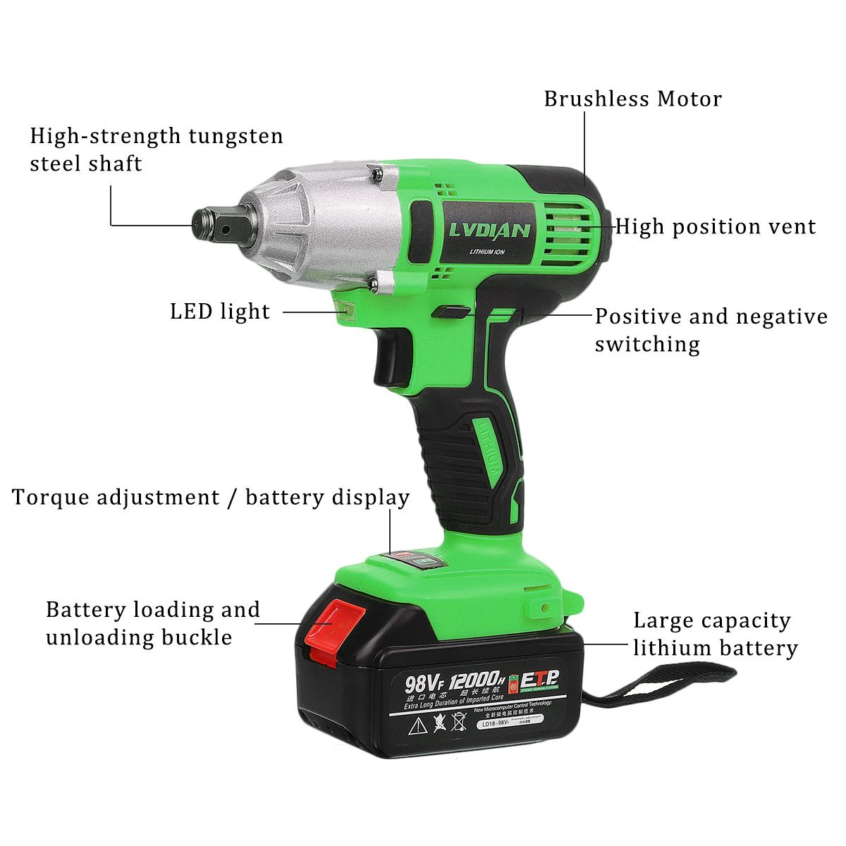 Electric 12000mah DIY Screwdriver With Wrench Tool 98VF 520Nm Cordless Powerful Power Impact Battery Electric Home Drill Wrench