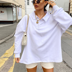 Sweetown Solid White Casual Oversize Sweatshirts For Women Autumn Fashion Long Sleeve Outfits Pullover Sweatshirts Streetwear