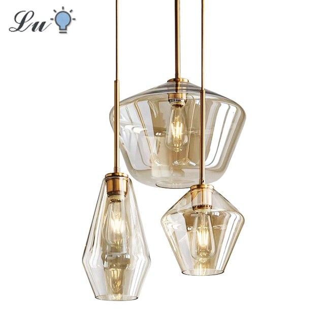 LED Glass Pendant Light For Dining Room Kitchen Design Vintage Retro Decorative Pendants Lighting Industrial Nordic Hanging Lamp