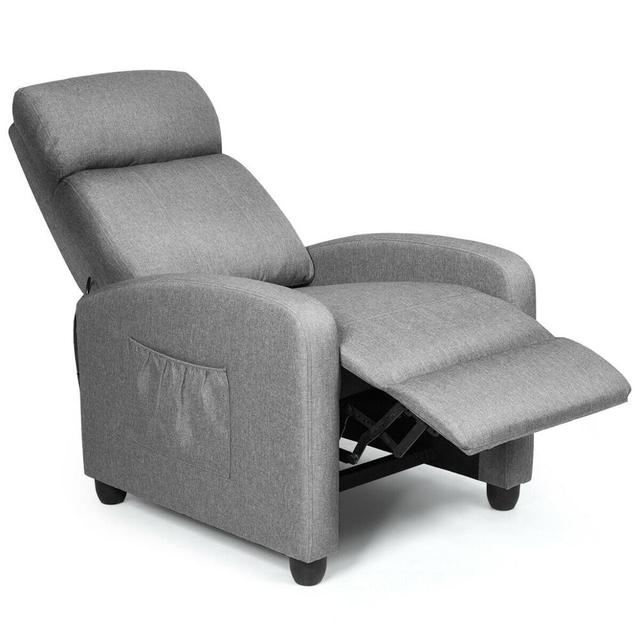 Massage Recliner Chair Single Sofa Fabric Padded Seat Theater Home w/ Footrest Gray 3