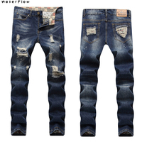 2019 new With Holes Slim Fit Straight Distressed Denim Fashion Men Ripped Jeans Pants Plus Size 28 40 Trousers For Male Washed