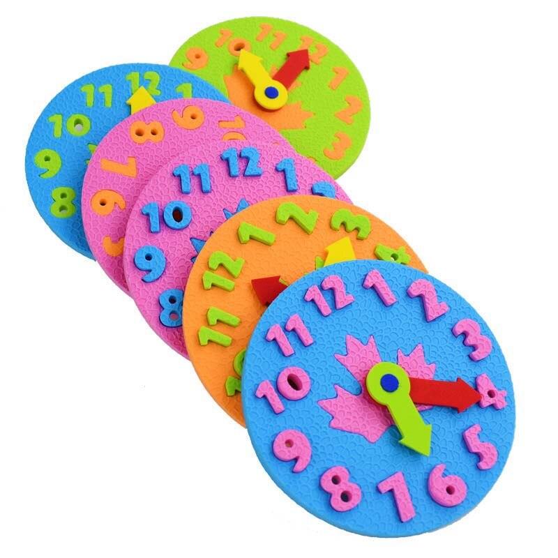 New DIY EVA Clock Teaching Kindergarten Early Learning Education Baby Kids Toys Montessori Teaching Aids Math Toys