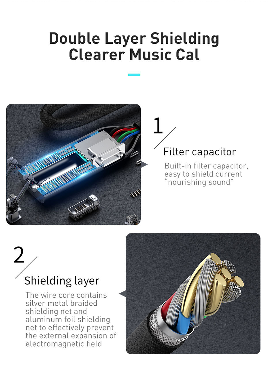 Baseus L60 2-in-1 Type-C Male to Type-C & 3.5mm Female Adapter for Samsung Huawei P30 Pro