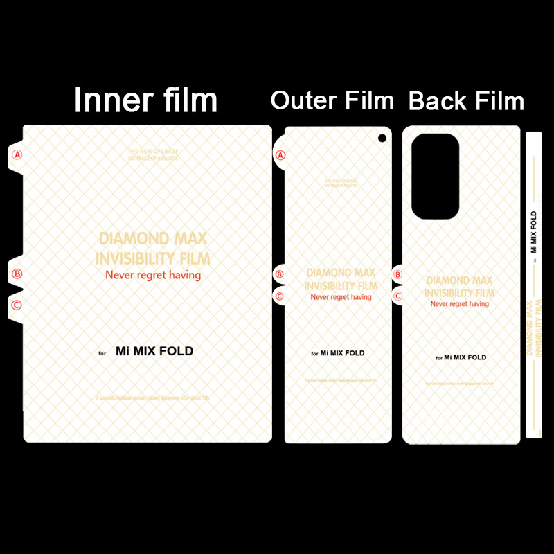 100 Sets Unbreakable Membrane Screen Protector For Xiaomi Mi MIX FOLD Back Hydrogel Film Soft Screen Protector