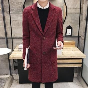 Winter Fashion Mens Long Jacket Trench Casual Business Wool Coat Warm Lapel Collar Sobretudo Korean Straight Slim Fit Overcoat