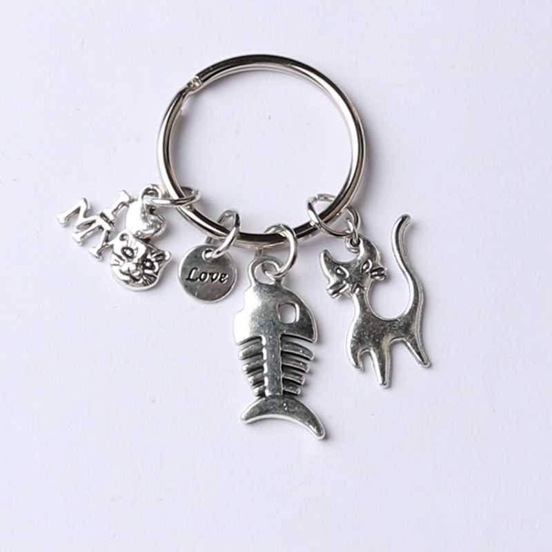 1 pçs peixe osso encantos gato chaveiro animal de estimação memorial jóias presente para o amante do gato eu amo o meu gato