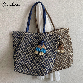 Luxury Women Handbag Famous Large Capacity Beach Bag Tassel Plaid Shoulder Bag Summer Vacation Casual Bags Totes Shopping Bag цена 2017