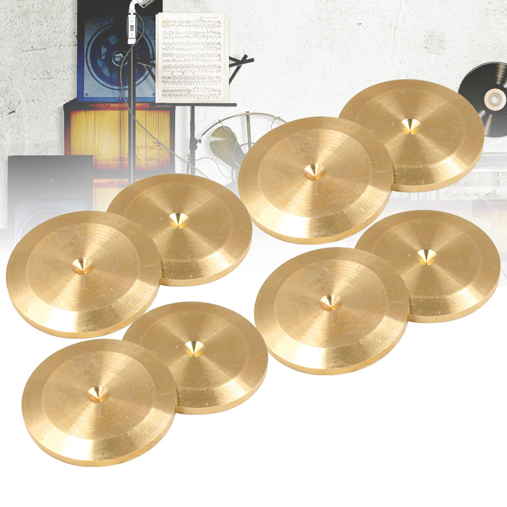 8pcs Base Copper Alloy Multipurpose Turntable Recorder Amplifiers Home Universal Fit CD Player Isolation Feet Speaker Spike Pad