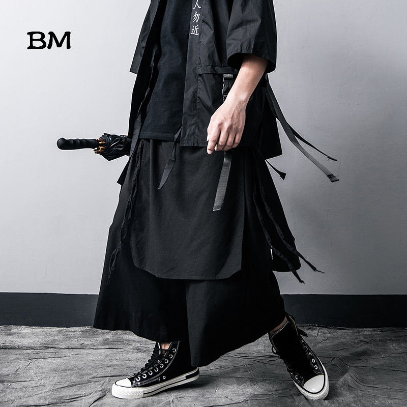 Spring Darkness Loose Wide Leg Pants Men Streetwear Hip Hop Casual Harem Pants Fashion Skirt Pants Cotton Linen Cropped Pants