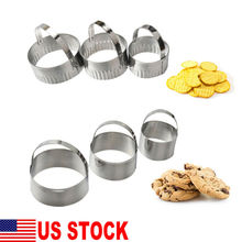 3PCS Stainless Steel Round Scallop Cookie Biscuit Cutter Fondant Cake Mould HOT