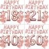 1 مجموعة روز الذهب 18 21 30 40 50 60th عيد ميلاد سعيد احباط بالونات راية للفتيات النساء الكبار عيد ميلاد حزب زينة