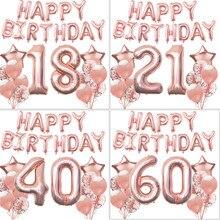 Ensemble de ballons en or Rose 18 21 30 40 50 60e, bannière en aluminium pour filles et femmes, decoration anniversaire fille, décorations de fête d'anniversaire pour adultesfête