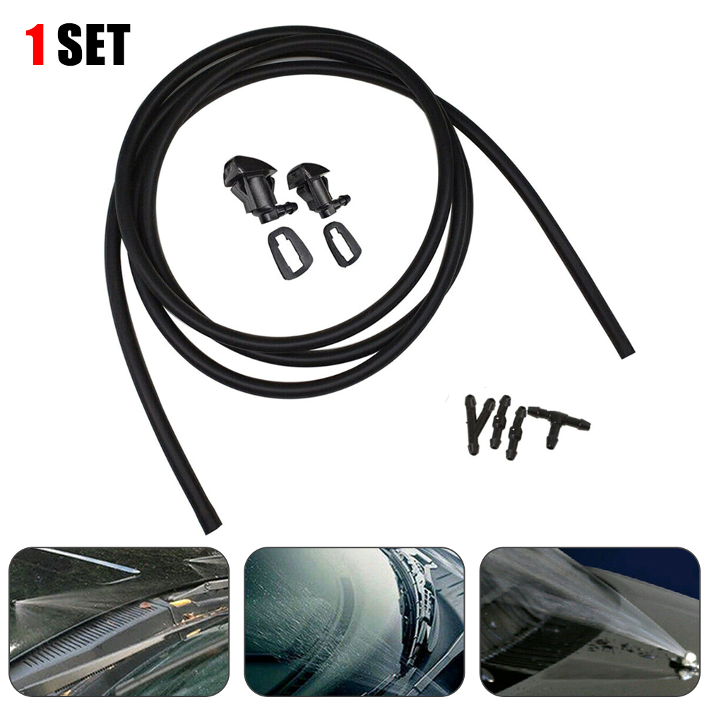 Car Windshield Washer Wiper Water Spray Nozzle Jet & Hose Connector For Toyota