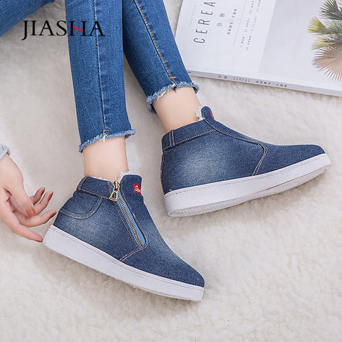 Denim winter shoes woman 2019 new women sneakers side zipper plush platform warm winter canvas shoes tenis feminino plus size Lahore