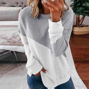 Patchwork T-shirt Women Casual Long Sleeve Tops Tee Spring Autumn T Shirt Women Clothes Female O-neck Tee Shirts