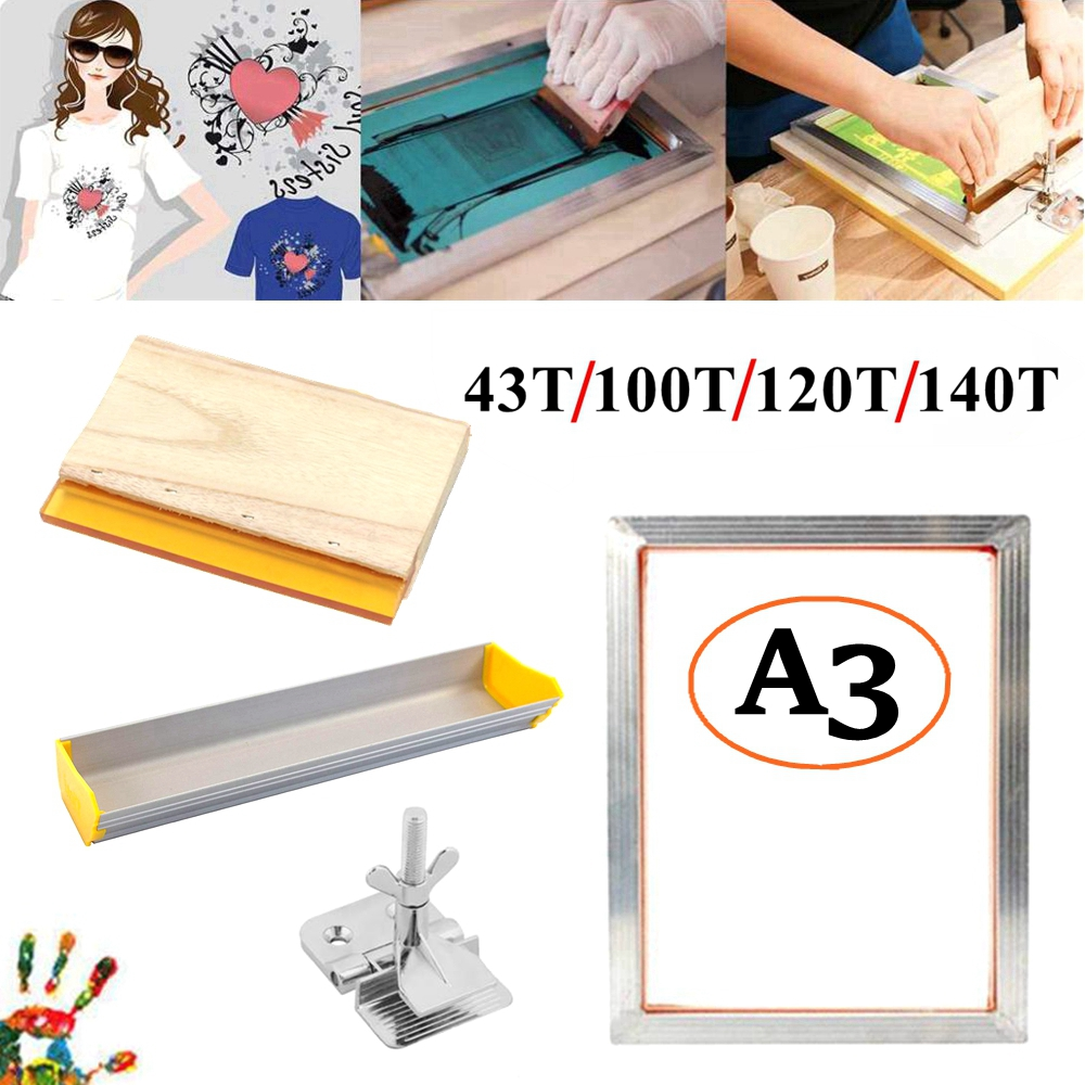 4PCS A3 Screen Printing Kit Silk Screen Printing Aluminum Frame + Hinge Clamp + Emulsion Scoop Coater + Squeegee Tool Parts Set