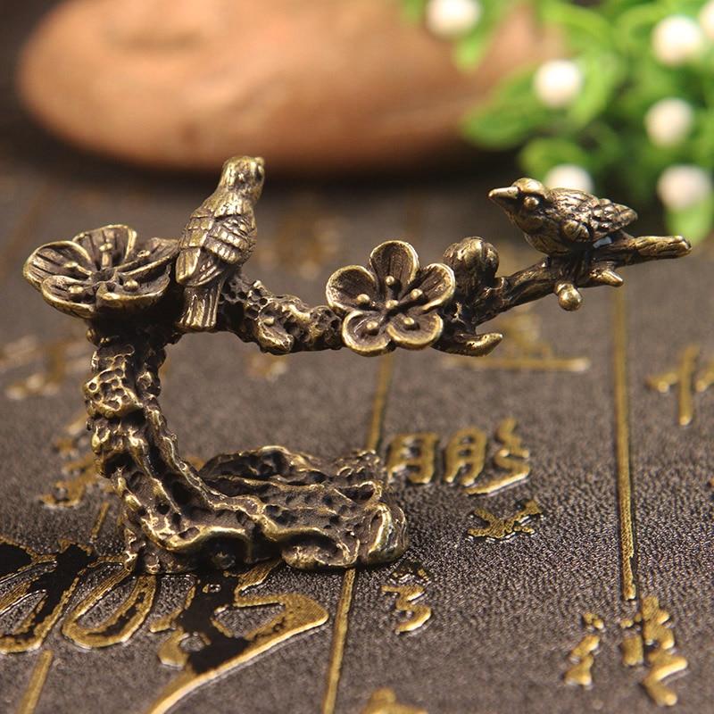 Pure Copper Plum Tree Happy Magpie Bird Miniature Ornaments Antique Brass Cuckoo Figurine Tea Table Decorations