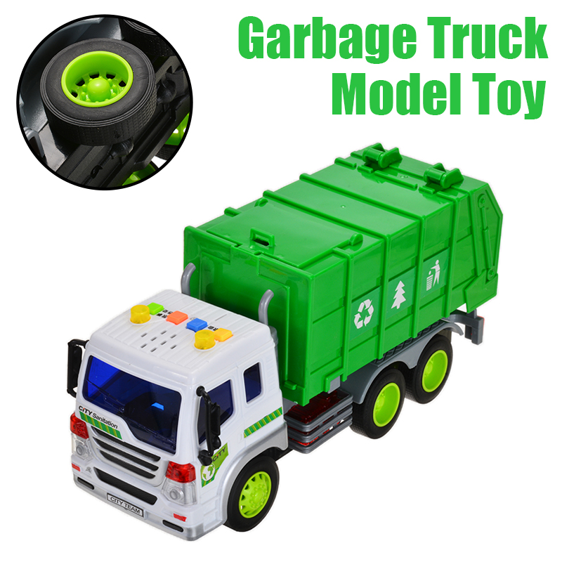 1:16 Garbage Truck Rubbish Model Recycling Trash Children Car Toy With Light & Sound Toy Vehicle For Kids Gift