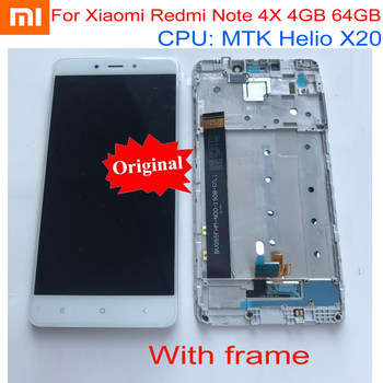 100% Original NEW Sensor For Xiaomi Redmi Note 4X Pro 4GB 64GB MTK Helio X20 LCD Display Touch Screen Digitizer with frame