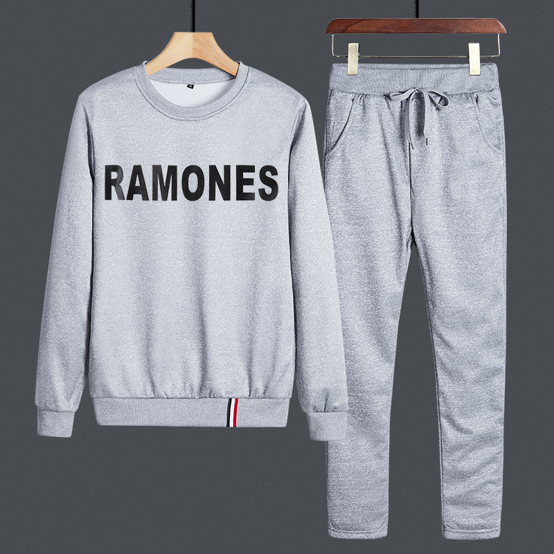 Spring And Autumn Long-sleeve Suit Fashion Man Korean-style Teenager Students Two-Piece Set Sports Handsome Round Neck Sweater A