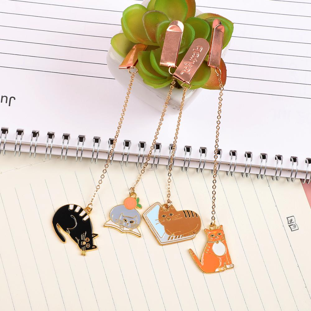 1PC Random Cute Cat Metal Bookmark Cartoon Animal Book Decoraction For Kid Gift School Office Supplies Pendant Bookmarks
