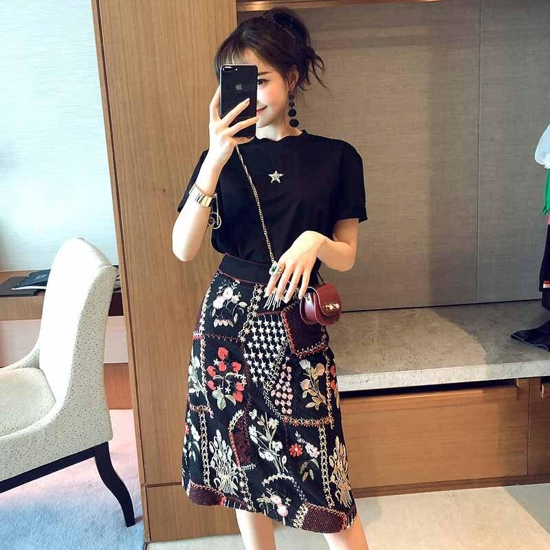 Debutante WOMEN'S Dress 2019 Early Spring New Style Elegant Retro Machine Embroidery Sheath High-waisted Gauze Skirt-
