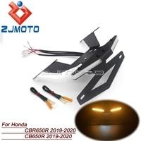 CNC Tail Tidy License Plate Bracket Integrated For Honda CBR650R CB650R 2019 2020 Fender Eliminator LED Turn Signal TailLight