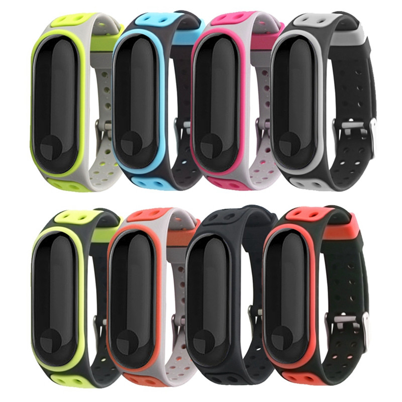 <font><b>Bracelet</b></font> <font><b>Strap</b></font> For Xiaomi <font><b>Mi</b></font> <font><b>Band</b></font> <font><b>4</b></font> <font><b>strap</b></font> <font><b>silicone</b></font> double color Double-breasted <font><b>wristband</b></font> For Xiaomi <font><b>mi</b></font> <font><b>band</b></font> <font><b>3</b></font> <font><b>Strap</b></font> accessories image
