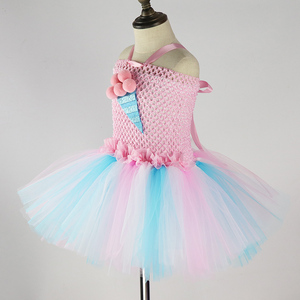 Image 4 - Kids Candy Color Ruched Ice cream tutu dress costume baby girls brithday party dresses Princess dresses girl vestidos PQ255