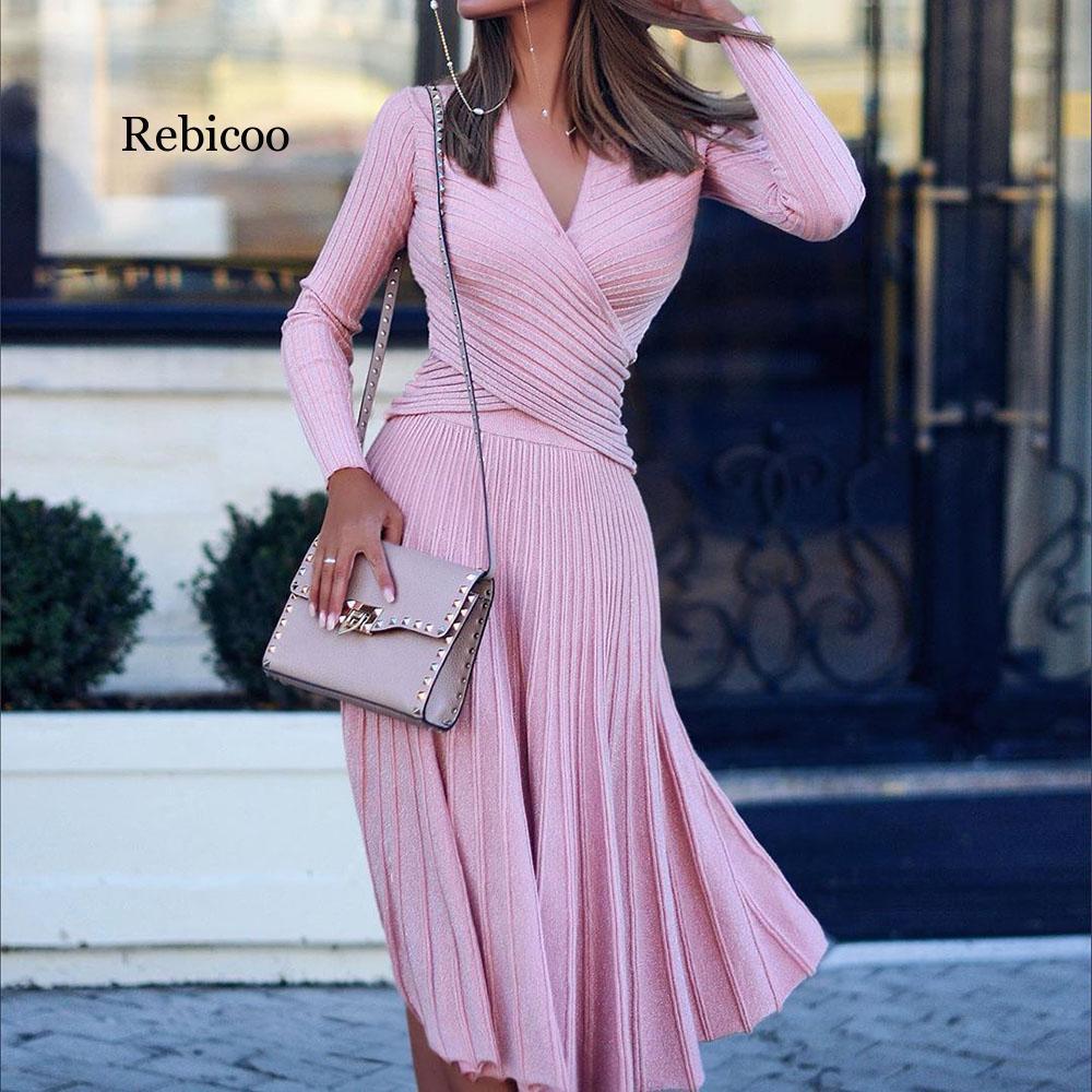 Fashion Designer Pleated Knitted Dress Elegant Women Sweater Winter Dresses Pullovers Black Long Sleeve Autumn Midi Vestido