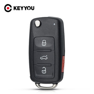 KEYYOU 3+1 4 Buttons Remote Uncut HAA Blade Flip Car Key Shell For VW VolksWagen Polo Golf Passat Octavia Seat Passat Beetle