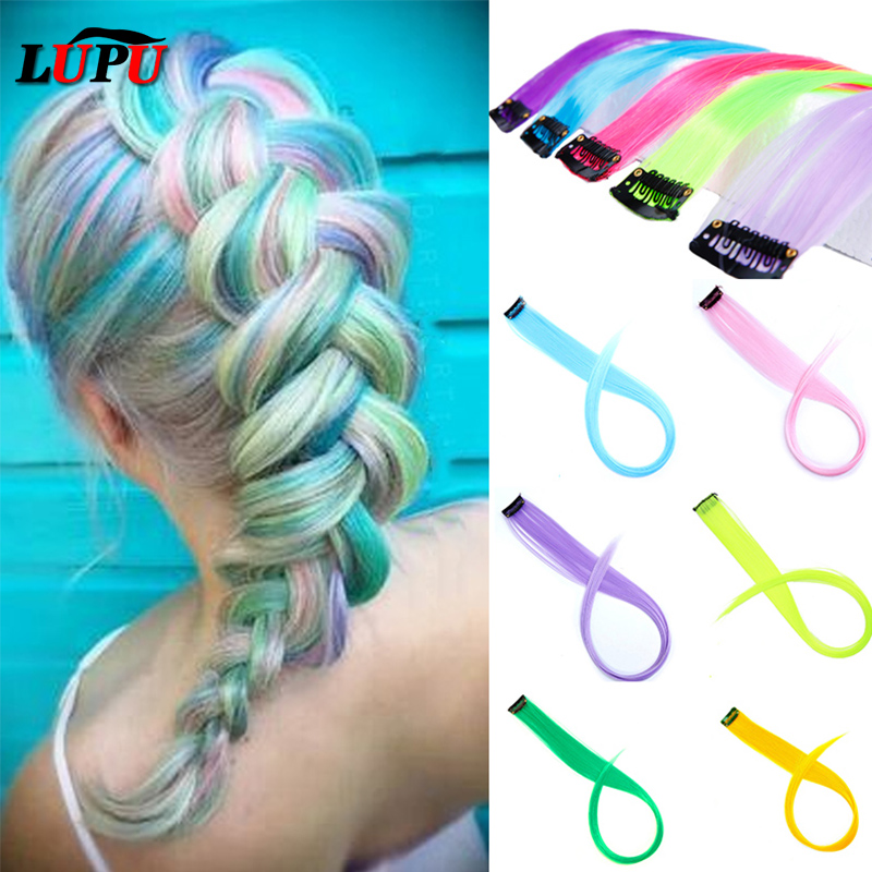 LUPU 55cm Colored Hair Strands Hair Extension Long Straight Female Rainbow Hair Pieces One Clip Heat Resistant Synthetic Bundle